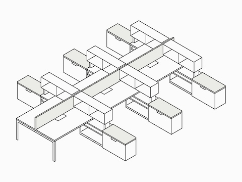 A line drawing of a six-person Layout Studio bench with Tu Storage cubbies and credenzas and a center privacy screen.