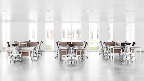 Three workstation clusters built from Layout Studio surfaces and screens, each with five Embody office chairs.