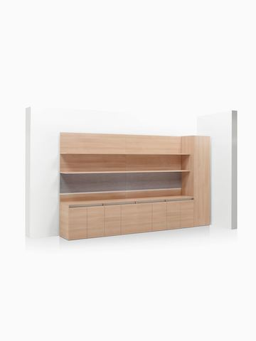 Layout Workwall with open shelves, storage credenzas, and wardrobe.
