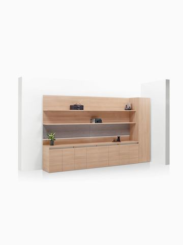 Layout Workwall with open shelves, storage credenzas, and wardrobe. Select to go to the Layout Workwall product page.