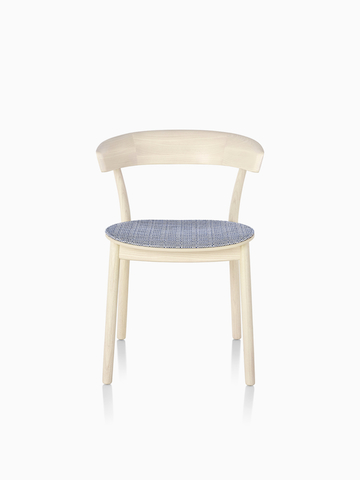 Light wood Leeway Chair with blue plaid upholstered seat.