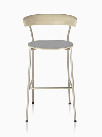 A metal base Leeway Stool with light wood backrest and upholstered seat, viewed from the front.