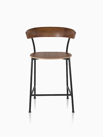Black metal base Leeway Stool dark brown walnut wood backrest and seat.