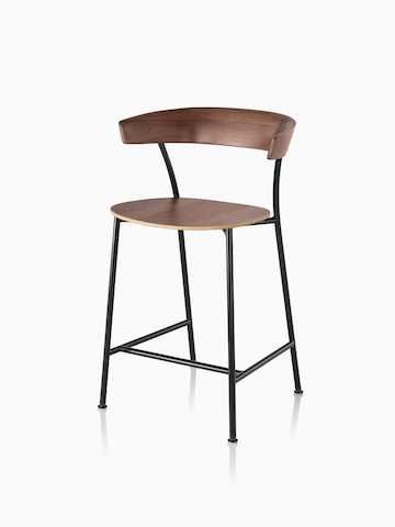 Black metal base Leeway Stool dark brown walnut wood backrest and seat. Select to go to the Leeway Stool product page.