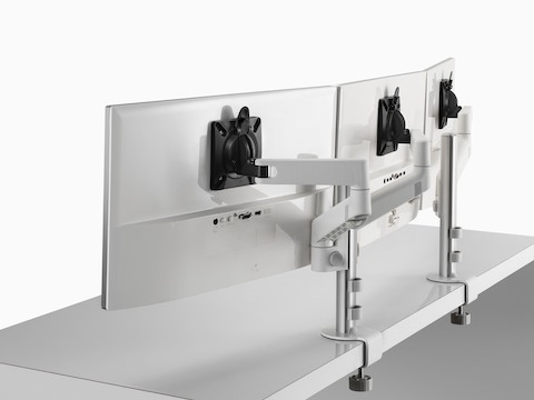Back view of triple Lima Monitor Arm configuration in white.
