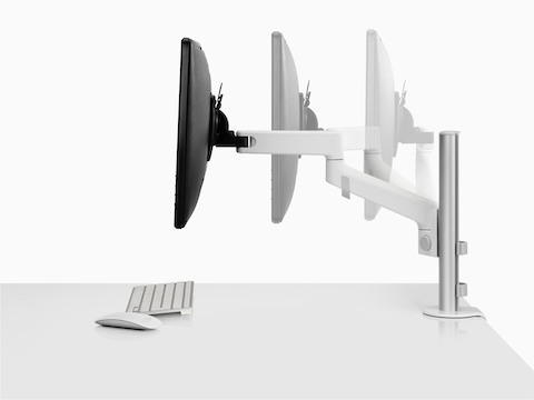 Animated side view of single Lima Monitor Arm extension in white.