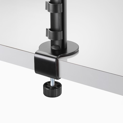 Close-up back view of a black Lima Monitor Arm clamp.