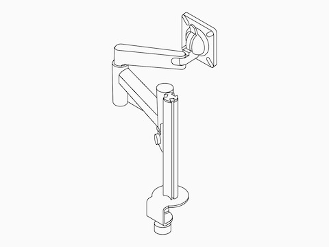 Line illustration of single Lima Monitor Arm without monitor.