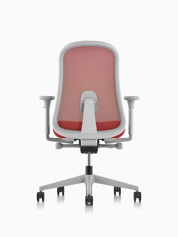 Red and grey Lino Chair with adjustable sacral lumbar support, viewed from the back.
