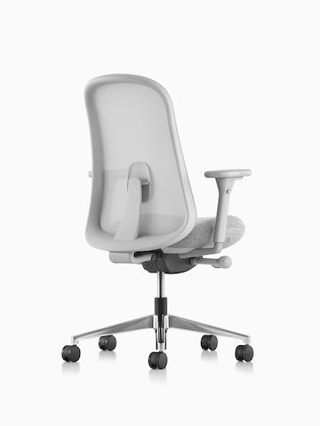Grey Lino Chair with adjustable sacral lumbar support, viewed from the back at an angle.
