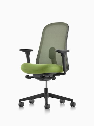 Black and green Lino Chair with adjustable sacral lumbar support, viewed from the front at an angle.