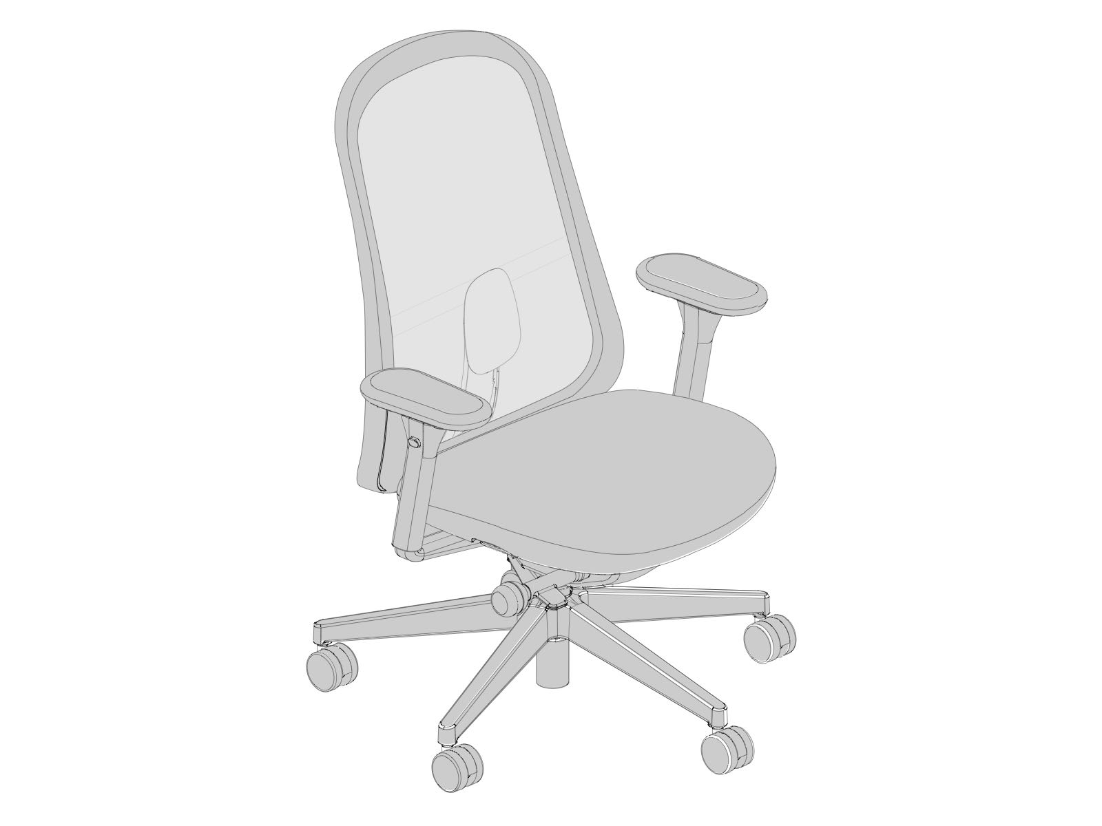 Line art of a Lino Chair, viewed from the front at an angle.