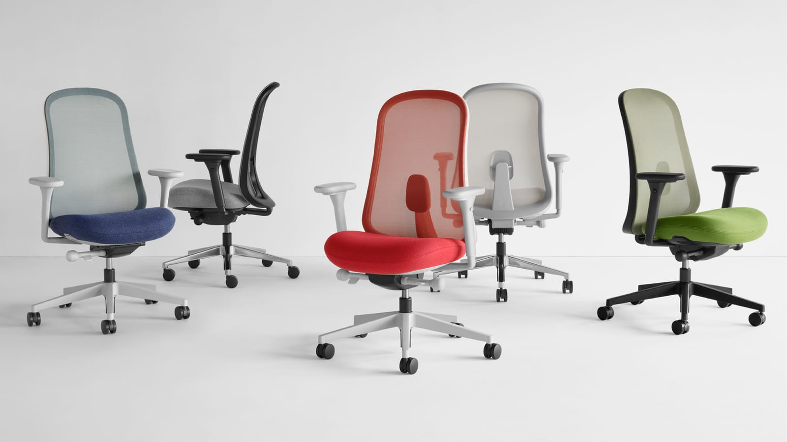 Five Lino Chairs In Blue Black Gray Red And Green Viewed From Various