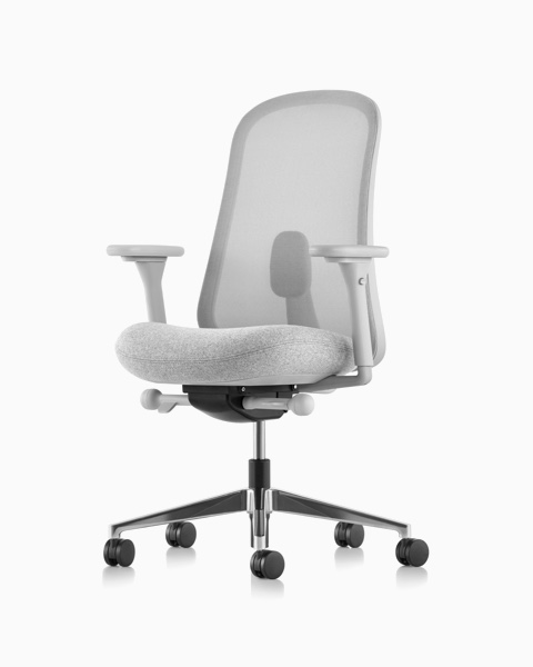 Grey Lino Chair with adjustable sacral lumbar support, viewed from the front at an angle.