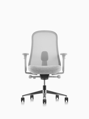 Gray Lino Chair with adjustable sacral lumbar support.