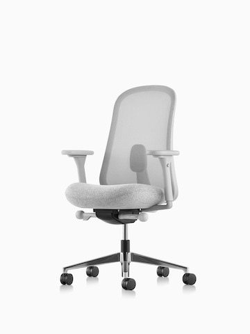 Gray Lino Chair with adjustable sacral lumbar support. Select to go to the Lino Chairs product page.