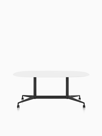 A white oval Locale conference table.