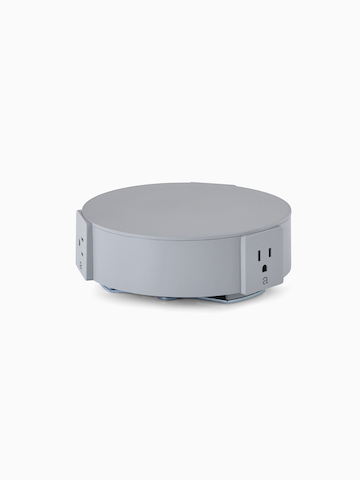 A light gray, circular Logic Reach Electrical Hub with multiple angled outlets.