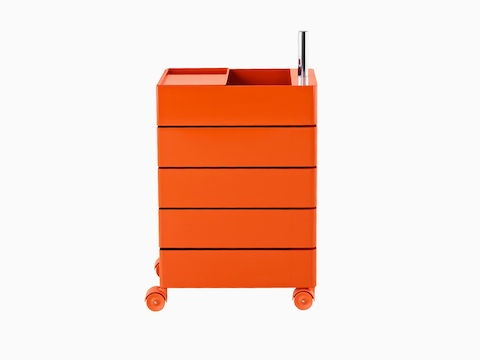An orange Magis 360° Container for mobile storage.