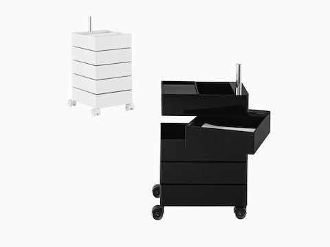 Two Magis 360° storage containers: one white unit with all drawers closed and one black unit with one drawer swiveled open.
