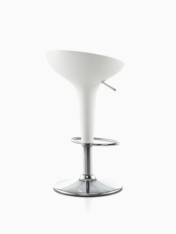 Polished aluminum Magis Bombo Stool, viewed from the front.