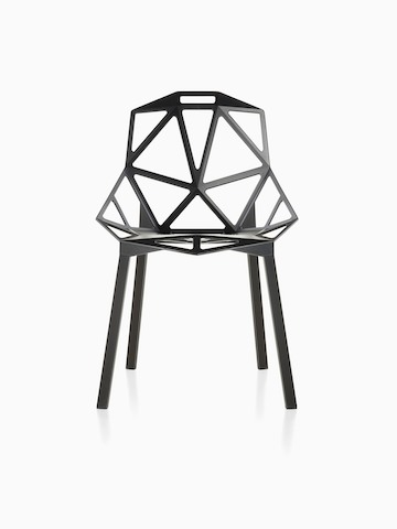 Black Magis Chair_One side chair with a stackable four-leg base, viewed from the front.