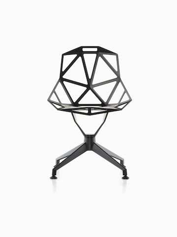 Black Magis Chair_One side chair with a four-star base, viewed from the front.