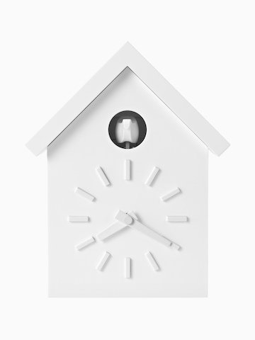 A contemporary Magis Cu-Clock with a white house and white roof.