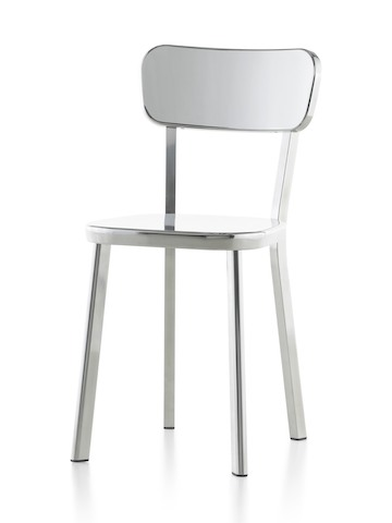 Silver Magis Déjà-vu side chair, viewed from a 45-degree angle.