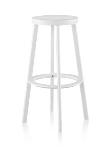 An aluminum Magis Déjà-vu outdoor stool in a white finish.