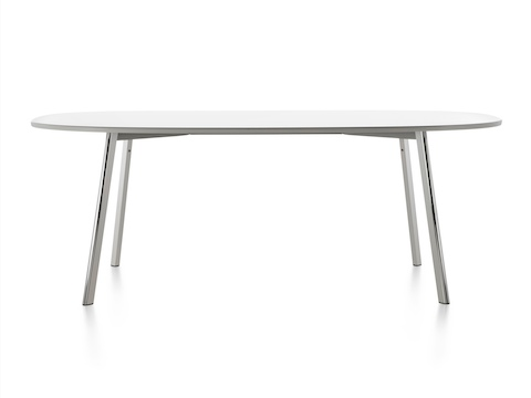 An oval Magis Déjà-vu Table with a white top.
