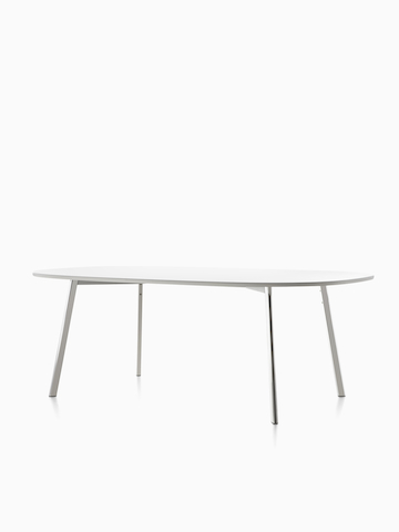 An oval Magis Déjà-vu Table with a white top. Select to go to the Magis Déjà-vu Table product page.