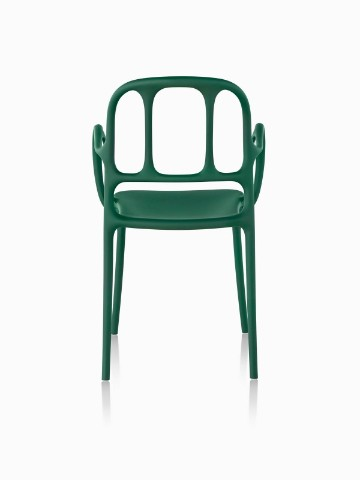Green Magis Milà side chair, viewed from the rear.