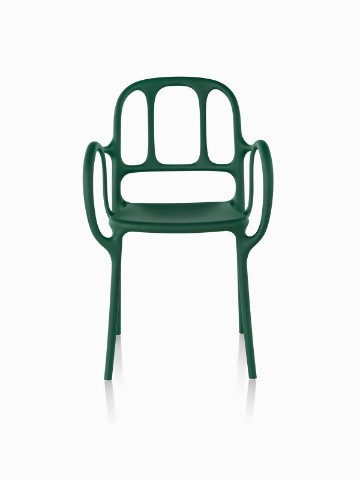 Green Magis Milà side chair, viewed from the front.