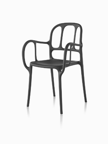 Black Magis Milà side chair, viewed from a 45-degree angle.