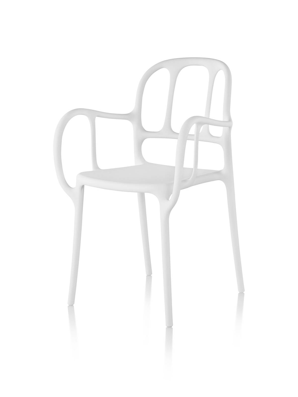 White Magis Milà side chair, viewed from a 45-degree angle.
