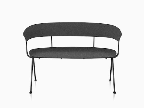 Magis Officina Bench in divina MD black, viewed from the front.