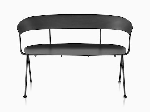 Magis Officina Bench in black beech, viewed from the front.