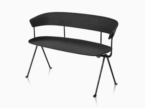 Magis Officina Bench in divina MD black, viewed from the front at an angle.