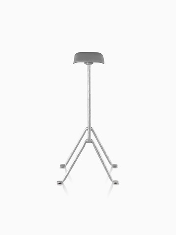 Profile view of a Magis Officina Stool with a black seat and silver wrought iron legs.
