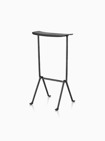 Black Magis Officina Stool with wrought iron legs, viewed from a 45-degree angle.