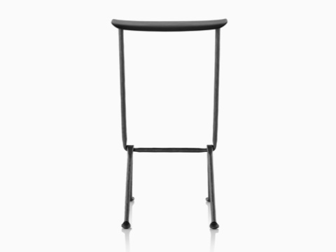 Black Magis Officina Stool with wrought iron legs, viewed from the front.