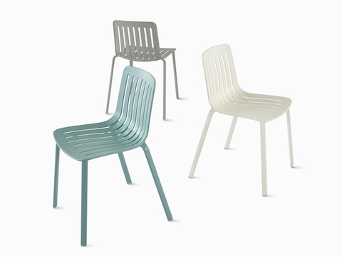 Three Magis Plato Chairs viewed at different angles.