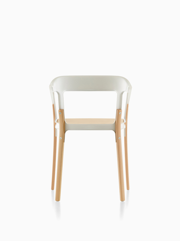 Magis Steelwood Chair, with white back and arms and a natural wood finish on the seat and legs, viewed from the rear.