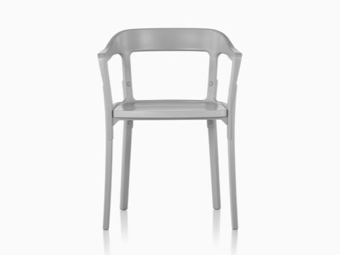 Front view of the upper half of a Magis Steelwood side chair with gray metal back and gray wood legs and seat.