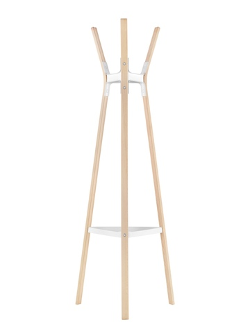 A Magis Steelwood Coat Stand with wood legs in a light finish and white metal joinery.