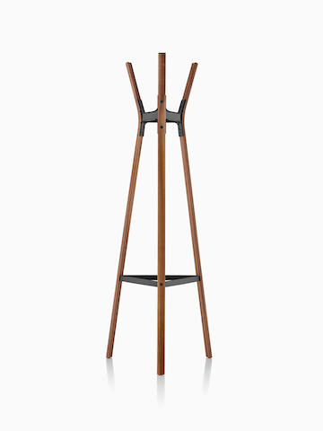 A coat stand made of steel and wood.