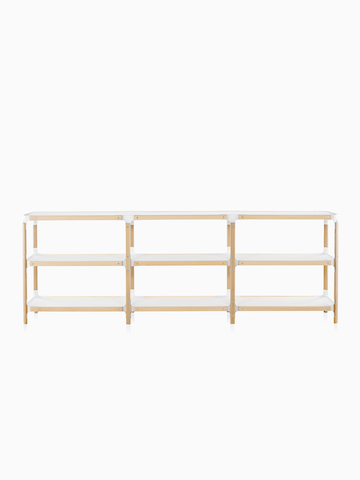 Three-high horizontal Magis Steelwood Shelving System shelves.