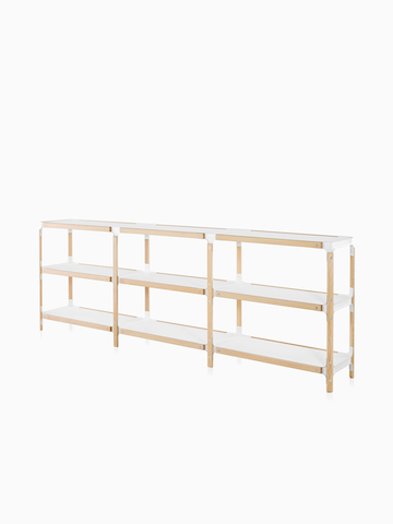 Three-high horizontal Magis Steelwood Shelving System shelves. Select to go to the Magis Steelwood Shelving System product page.