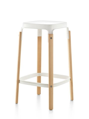 Magis Steelwood Stool with a white steel seat and wood legs in a light finish, viewed from an angle.